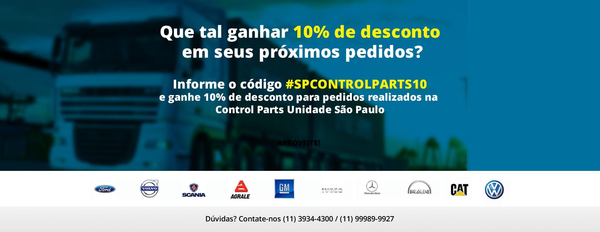 Promoção Control Parts 10% de desconto para Unidade São Paulo